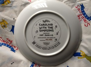 Simpsons Franklin Mint plate Caroling back