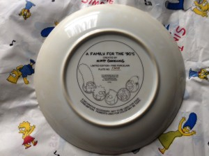 Simpsons Franklin Mint plate Family back