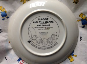 Simpsons Franklin Mint plate Maggie back
