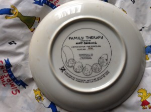 Simpsons Franklin Mint plate Family Therapy back
